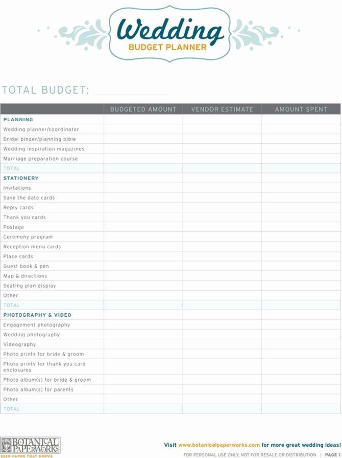 Wedding Planning Budget Template Inspirational Free Printable Wedding Bud Planner