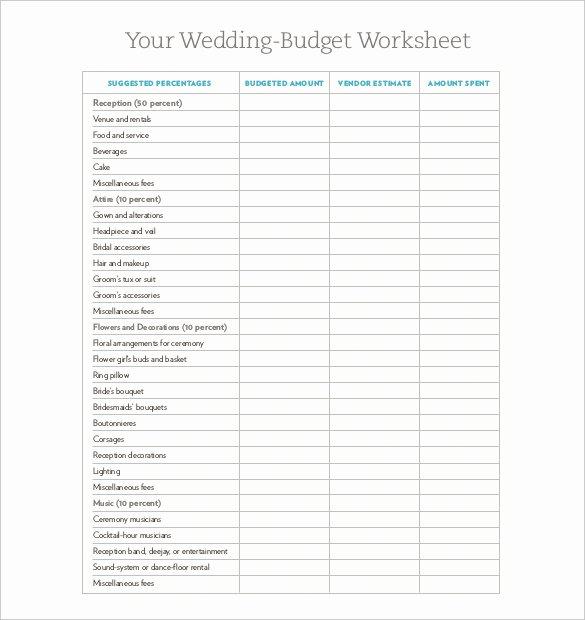 Wedding Planning Budget Template Inspirational Wedding Bud Template – 13 Free Word Excel Pdf