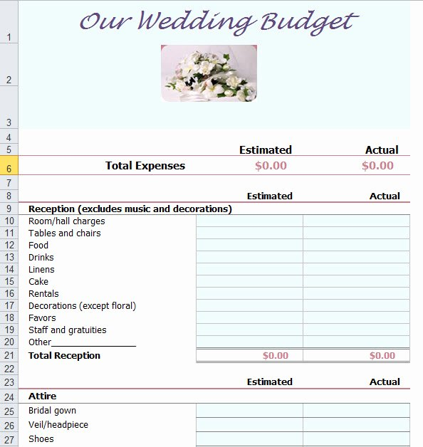 Wedding Planning Budget Template Lovely Wedding Bud Planner Template for Excel