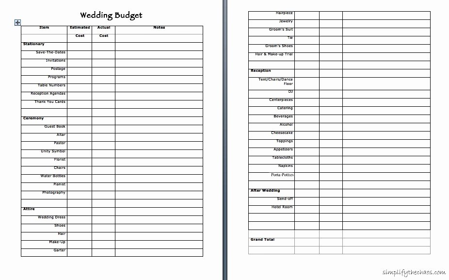 Wedding Planning Budget Template Unique Love Simplify the Chaos
