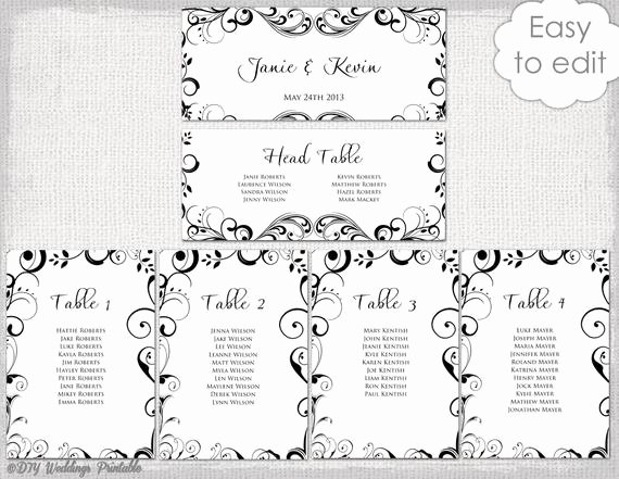 Wedding Planning Template Free Beautiful Wedding Seating Chart Template Black and White