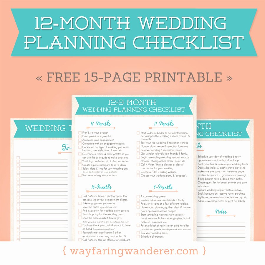 free 12 month wedding planning checklis