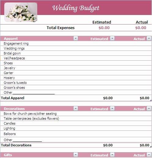 Wedding Planning Template Free Luxury Wedding Bud Planner