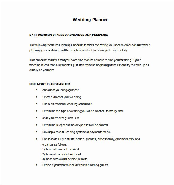 Wedding Planning Template Free Unique 13 Wedding Planner Templates – Pdf Word format Download