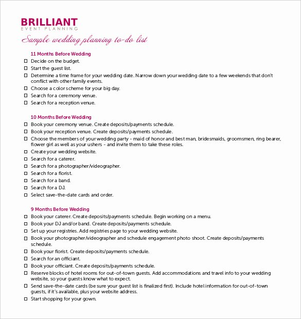Wedding Planning Template Free Unique Wedding Planner Template – 10 Free Word Pdf Documents