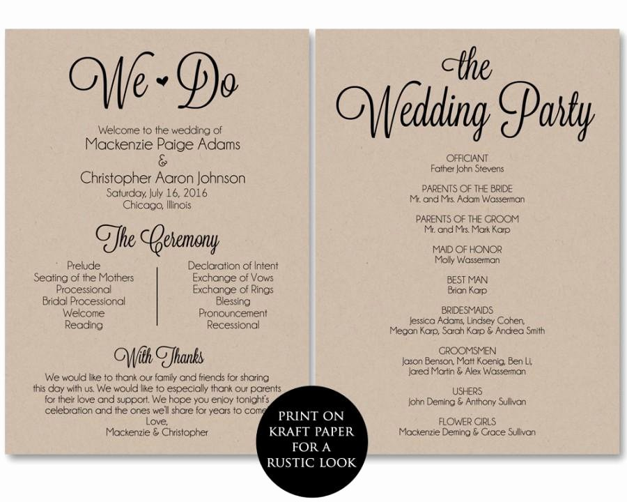Wedding Program Template Free Printable Awesome 28 Of Prinatble Downloadable Program Template
