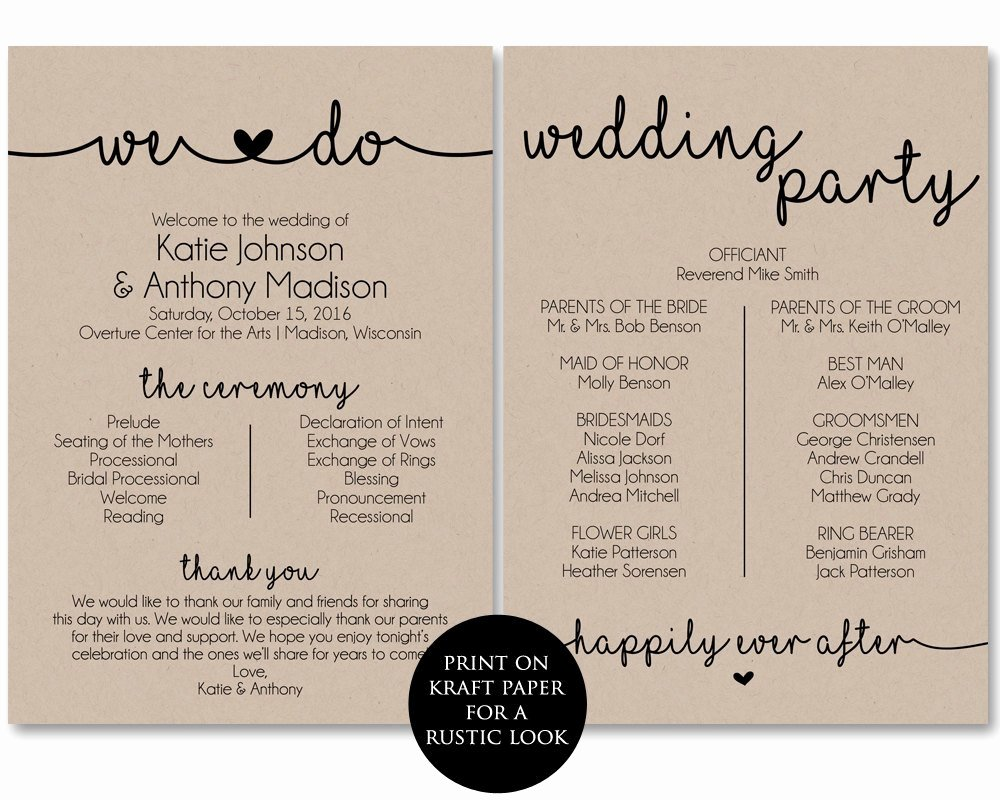 Wedding Program Template Free Printable Awesome Ceremony Program Template Printable Wedding Programs