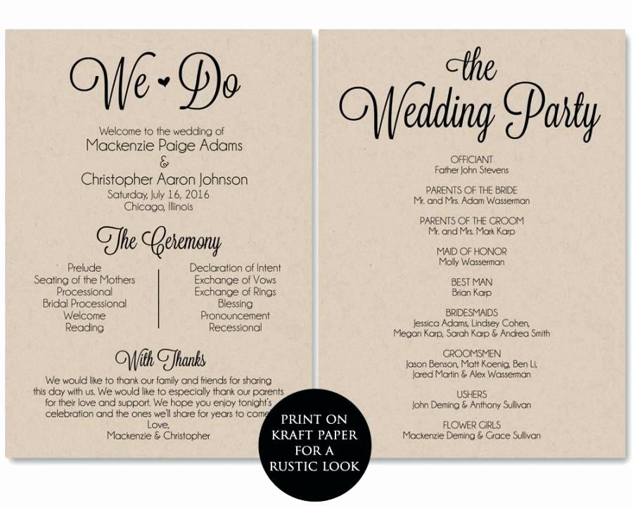 Wedding Program Template Free Printable Awesome Free Downloadable Wedding Program Templates Template