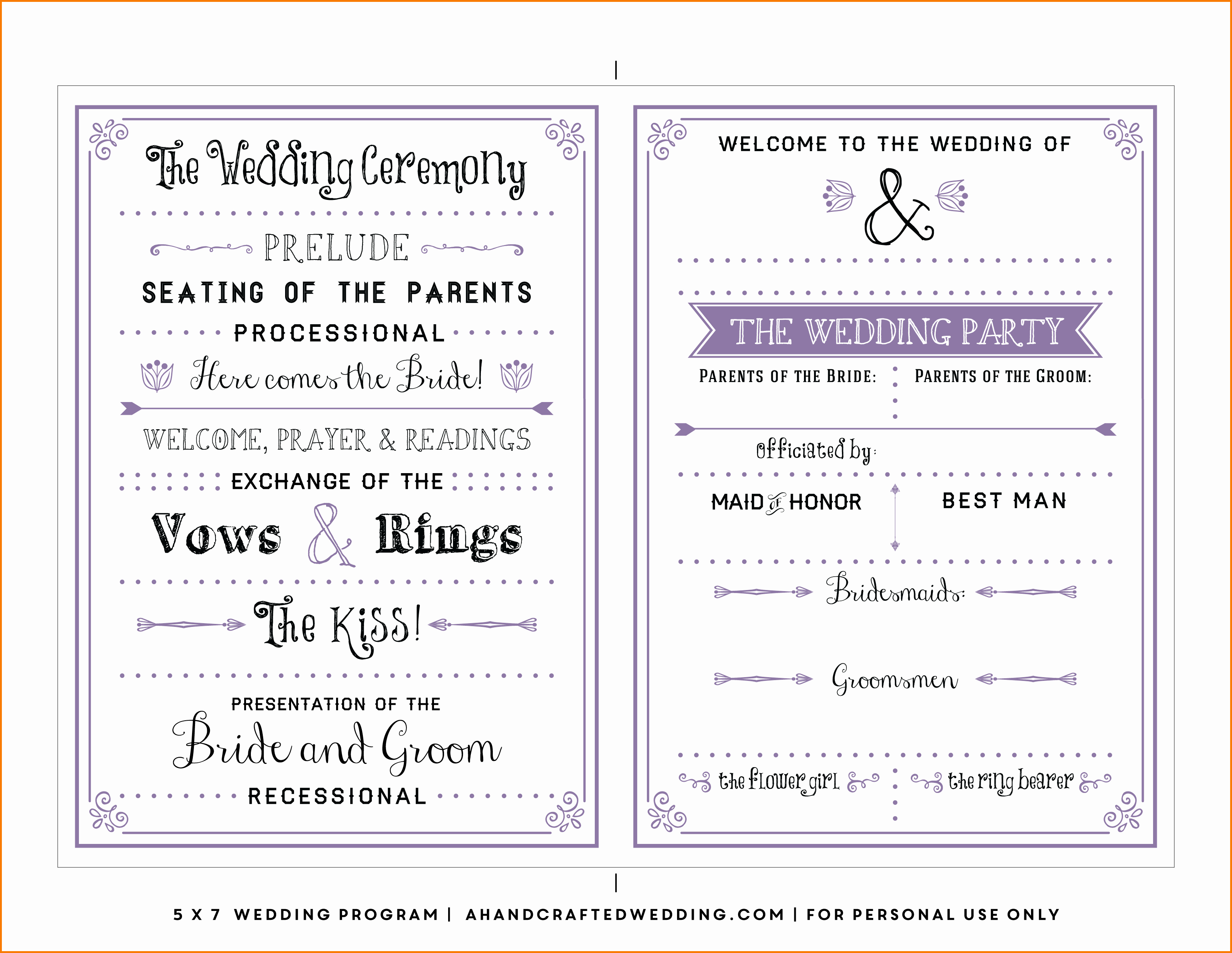 Wedding Program Template Free Printable Awesome Free Wedding Program Templates
