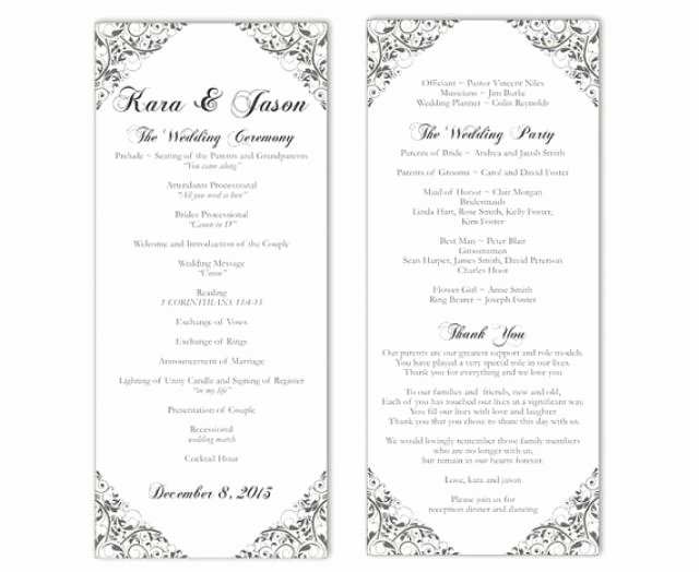 Wedding Program Template Free Printable Awesome Wedding Program Template Diy Editable Text Word File