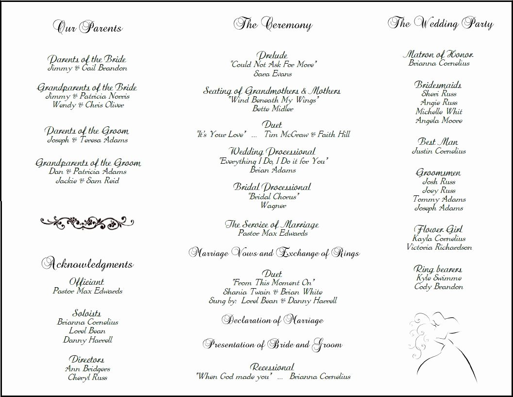 Wedding Program Template Free Printable Awesome Wedding Program Template