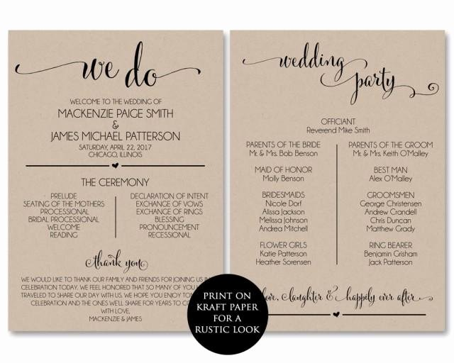 Wedding Program Template Free Printable Awesome Wedding Program Template Wedding Program Printable We Do