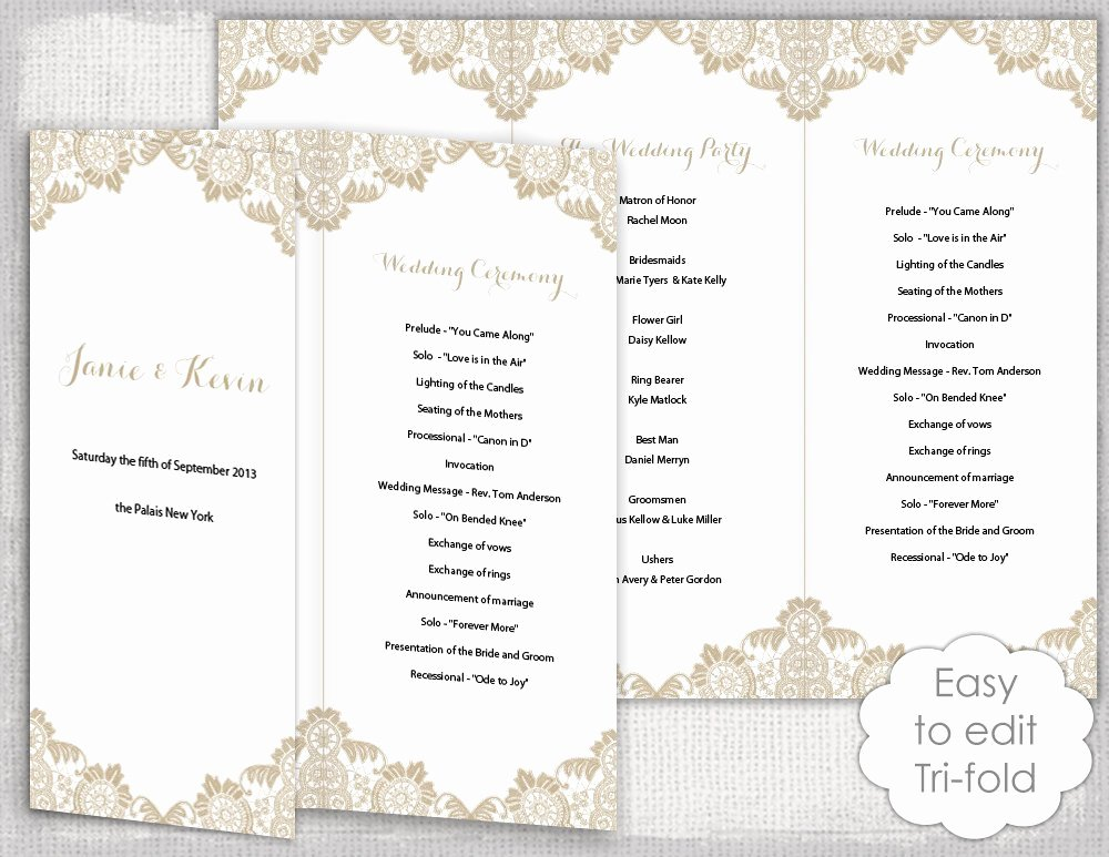 Wedding Program Template Free Printable Best Of Lace Wedding Program Template Antique Lace Diy