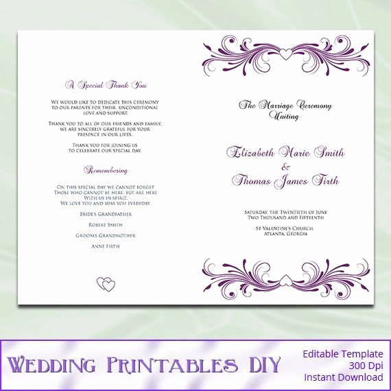Wedding Program Template Free Printable Elegant Template for Wedding Programs