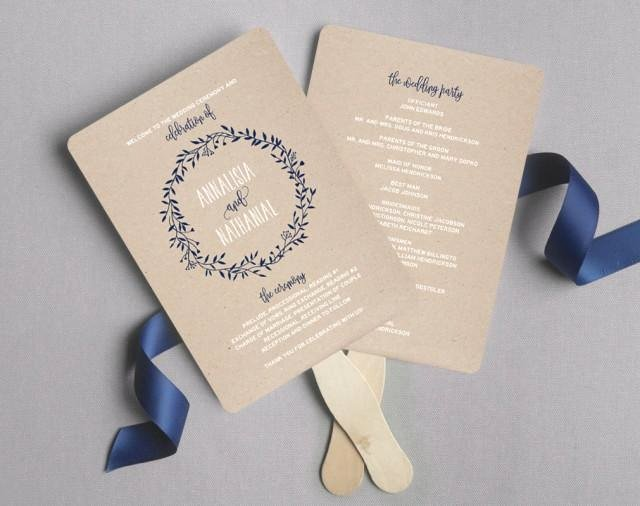 Wedding Program Template Free Printable Elegant Wedding Program Fan Wedding Program Printable Navy