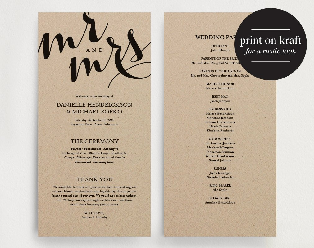 Wedding Program Template Free Printable Elegant Wedding Program Printable Template by Blisspaperboutique