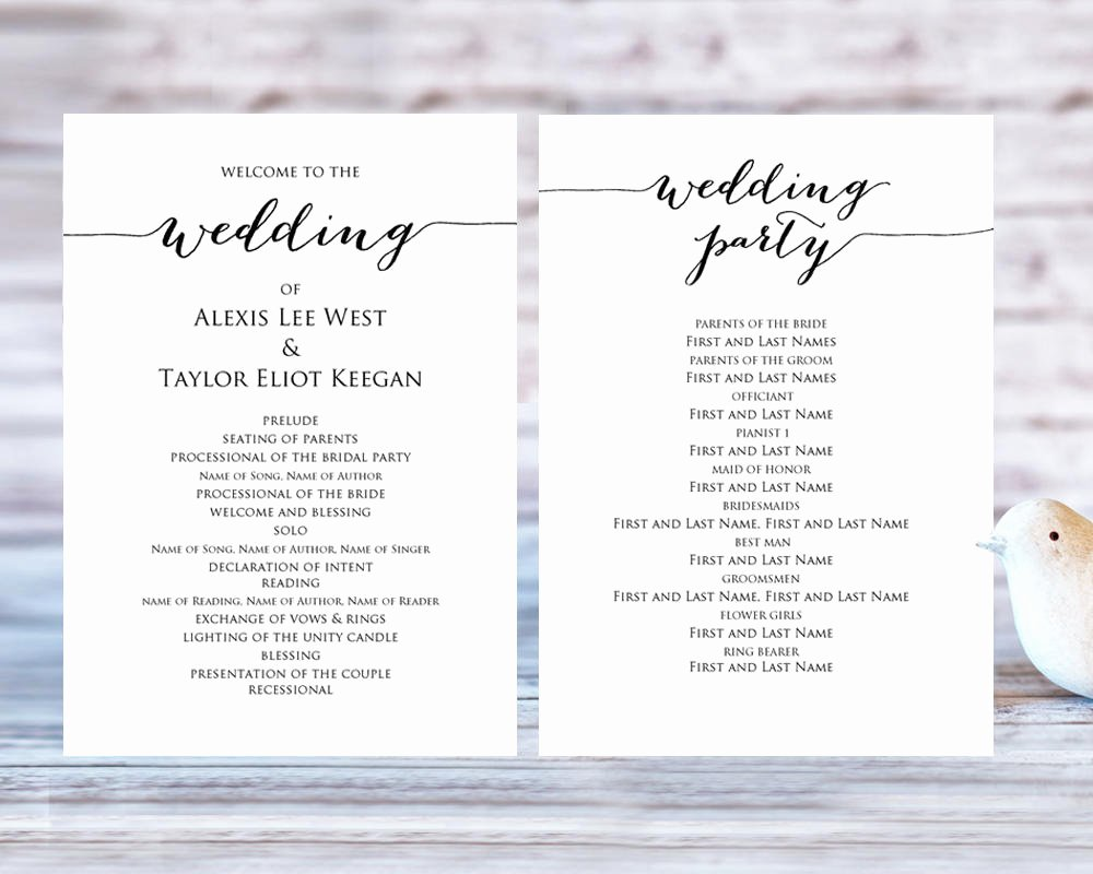 Wedding Program Template Free Printable Elegant Wedding Program Templates · Wedding Templates and Printables