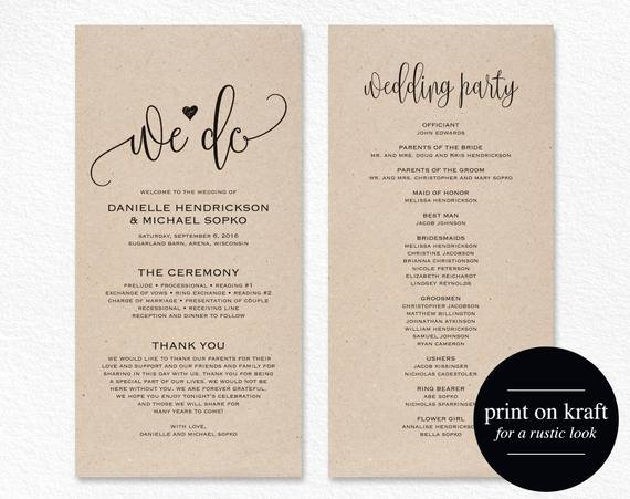 Wedding Program Template Free Printable Fresh Wedding Program Template Wedding Program Printable We Do