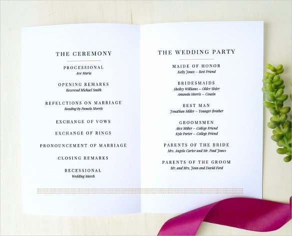 Wedding Program Template Free Printable Inspirational 67 Wedding Program Template Free Word Pdf Psd