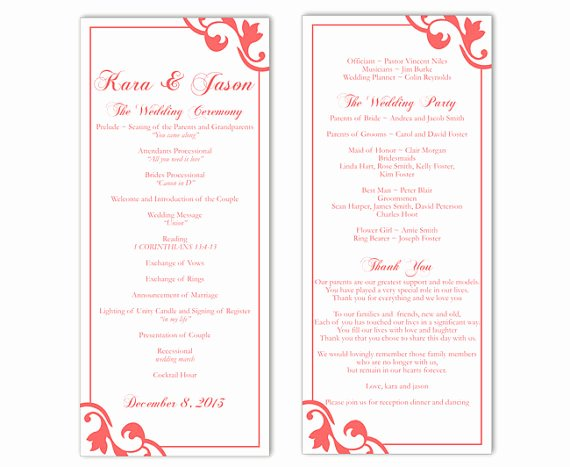 Wedding Program Template Free Printable Inspirational Wedding Program Template Diy Editable Text Word File