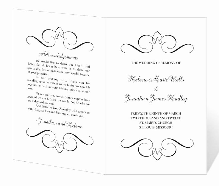 Wedding Program Template Free Printable Lovely Free Printable Wedding Program Templates
