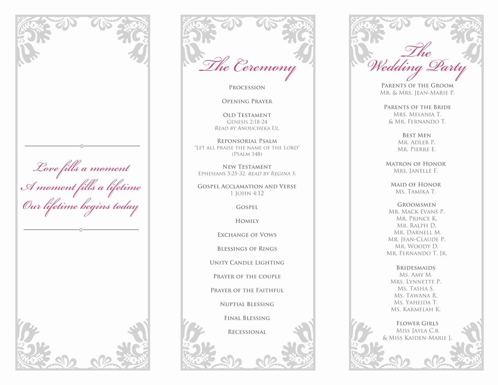 Wedding Program Template Free Printable Luxury Inspirational Microsoft Word Wedding Program Templates