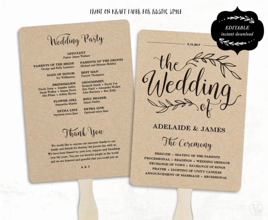Wedding Program Template Free Printable Luxury Printable Wedding Program Template Fan Wedding Program