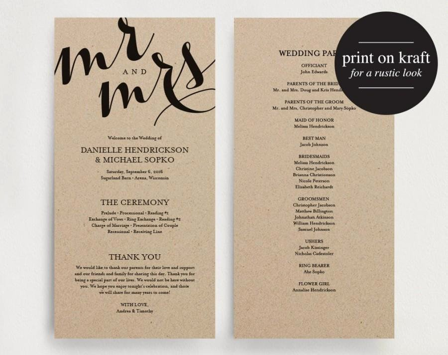 Wedding Program Template Free Printable Luxury Wedding Program Printable Template Printable Program