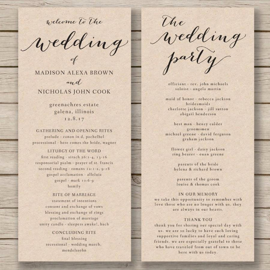 Wedding Program Template Free Printable Luxury Wedding Program Template Printable Wedding Program Diy