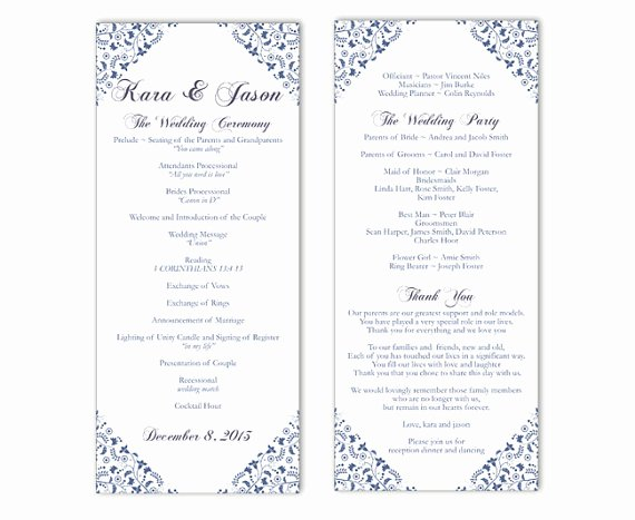 Wedding Program Template Free Printable Luxury Wedding Program Template Word