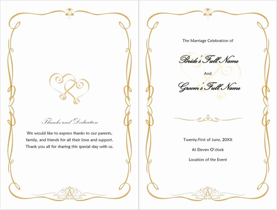 Wedding Program Template Free Printable New 37 Printable Wedding Program Examples & Templates