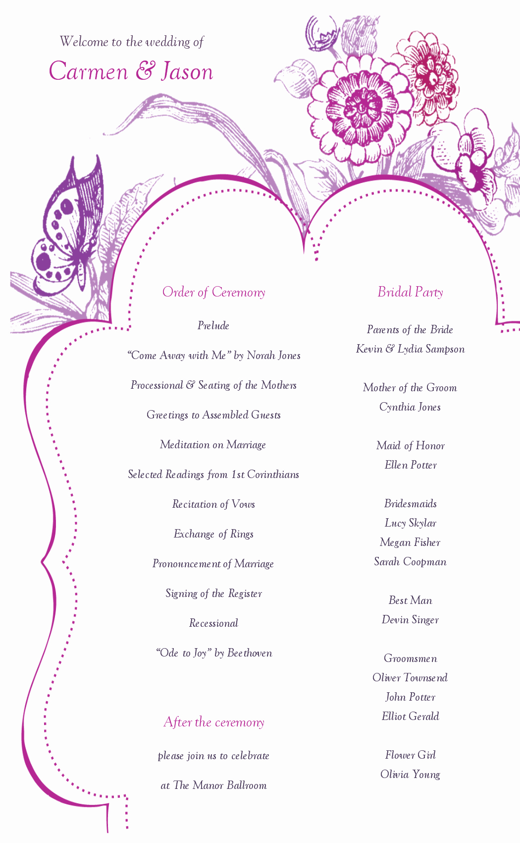 Wedding Program Template Free Printable New 8 Best Of Printable Wedding Program Templates