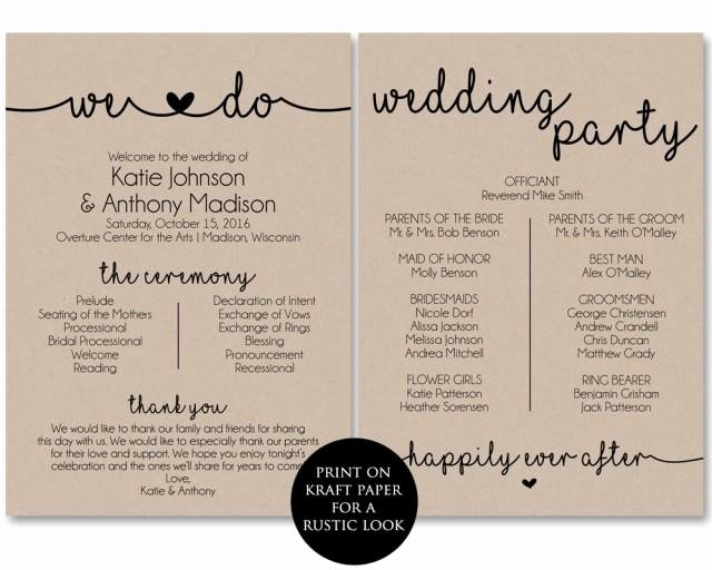 Wedding Program Template Free Printable New Ceremony Program Template Printable Wedding Programs