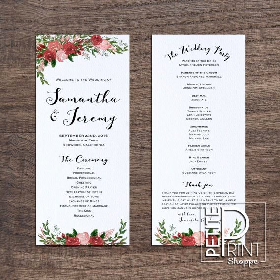 Wedding Program Template Free Printable Unique Best 25 Wedding Program Templates Ideas On Pinterest