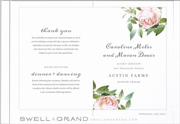 Wedding Program Template Free Printable Unique Wedding Program Templates – 15 Free Word Pdf Psd