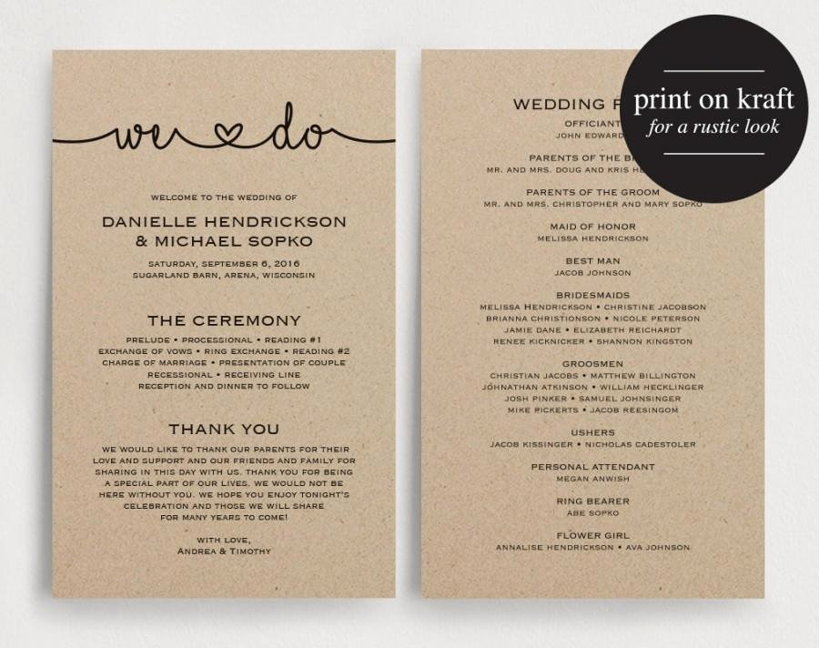 Wedding Program Template Free Printable Unique Wedding Programs Instant Download Printable Template