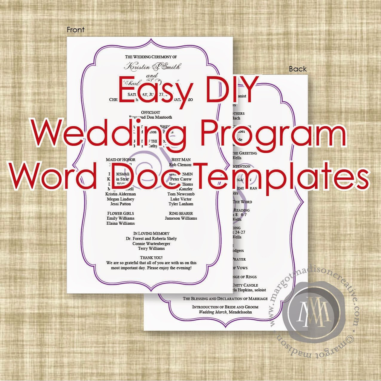 Wedding Program Template Free Word Awesome Margotmadison Diy Wedding Program Word Doc Templates now