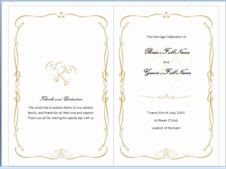 Wedding Program Template Free Word Awesome Microsoft Word Program Template Invitation Template