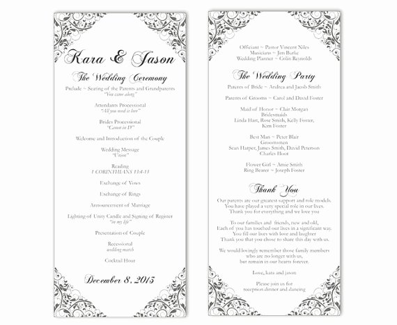 Wedding Program Template Free Word Awesome Wedding Program Template Diy Editable Text Word File