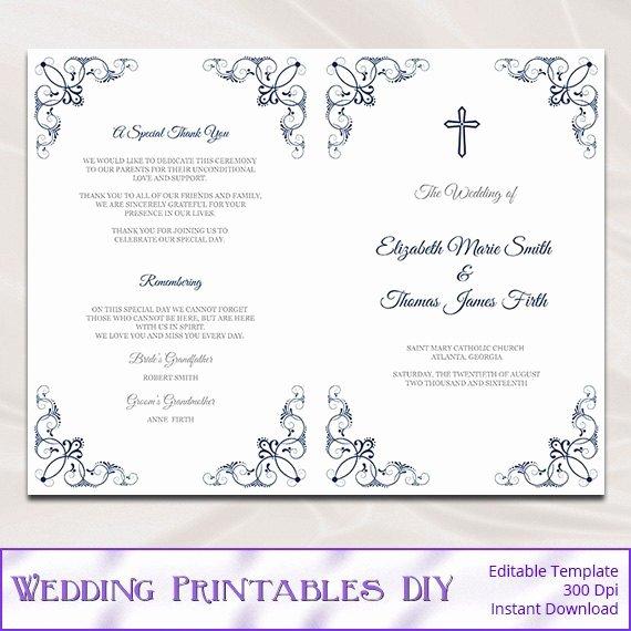 Wedding Program Template Free Word Beautiful Catholic Wedding Program Template Diy Navy Blue Church