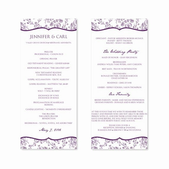 Wedding Program Template Free Word Beautiful Instant Download Wedding Program Template by Karmakweddings