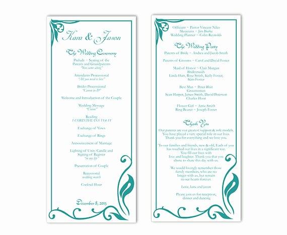 Wedding Program Template Free Word Beautiful Wedding Program Template Diy Editable Text Word File
