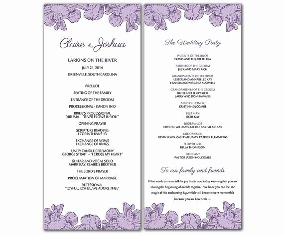 Wedding Program Template Free Word Best Of Diy Purple Poppy Flowers Wedding Program Microsoft Word