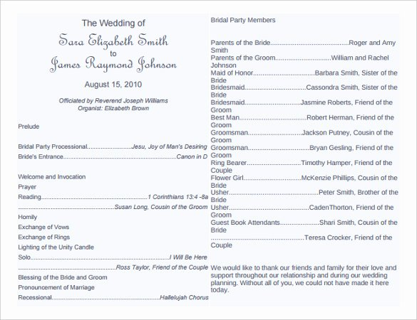 Wedding Program Template Free Word Elegant Wedding Program Template 41 Free Word Pdf Psd