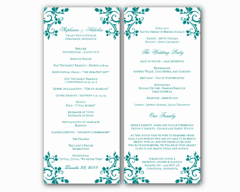 Wedding Program Template Free Word Fresh Free Printable Wedding Program Templates Word