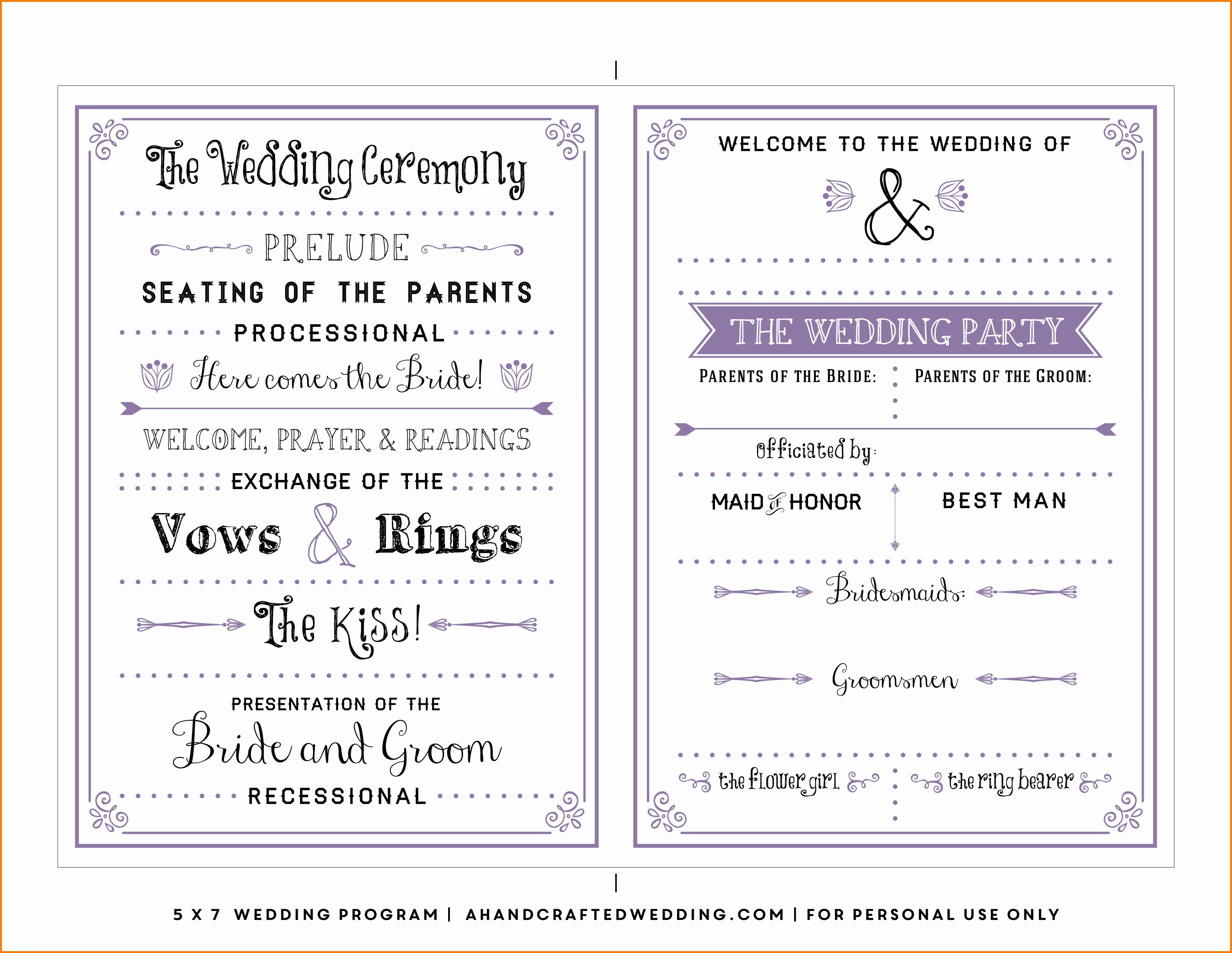 Wedding Program Template Free Word Inspirational Free Wedding Program Templates