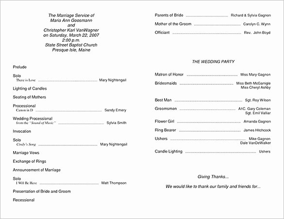 Wedding Program Template Free Word Inspirational Wedding Ceremony Program Template 36 Word Pdf Psd