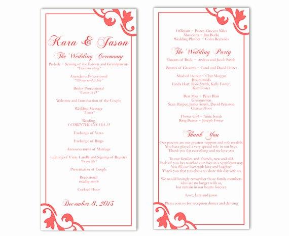 Wedding Program Template Free Word Inspirational Wedding Program Template Diy Editable Text Word File