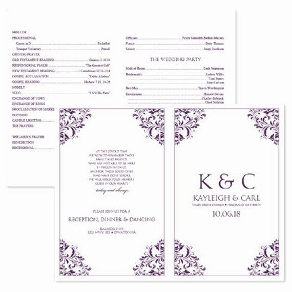 Wedding Program Template Free Word New Wedding Program Template Download Instantly by Karmakweddings