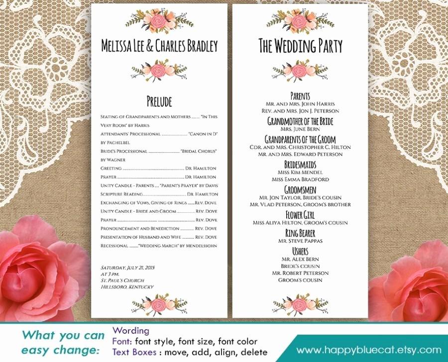 Wedding Program Template Free Word Unique Diy Printable Program Wedding Template Instant Download